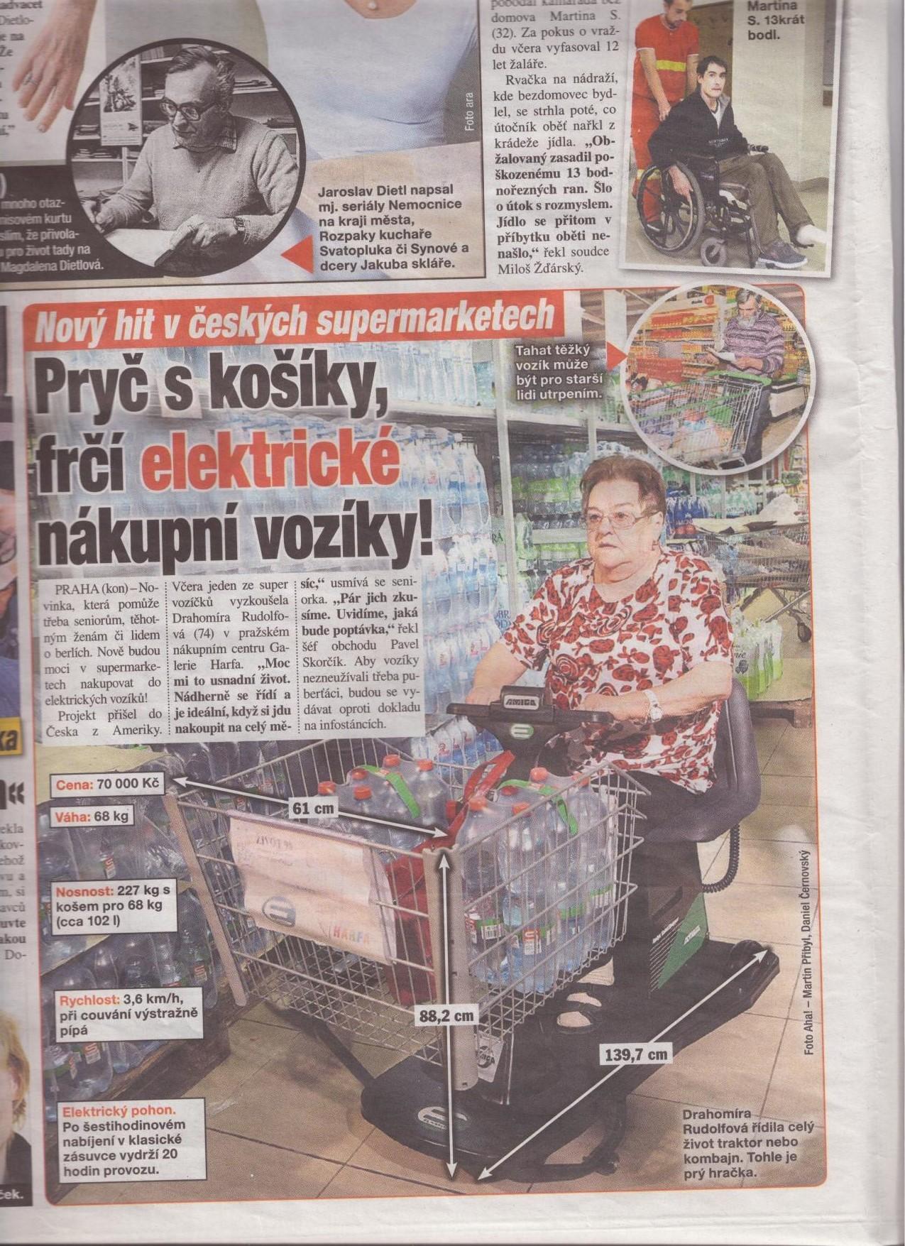 Elektrické nákupní košíky v Blesk